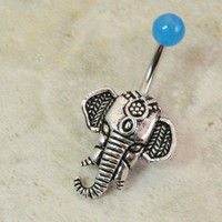 Light Blue Elephant Belly Button Ring