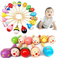 1Pcs Wooden Maraca Wood Rattles Kids Musical Party favor Child Baby shaker Toy = 1946706180