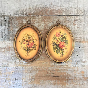 Flower Wall Art Flower Wall Hangings Set of 2 Flowers Plaques Gold Floral Art Boho Wall Hanging Mid Century Wall Art Cottage Chic Decor