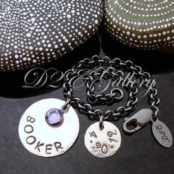 D2E personalized engraved hand stamped mothers bracelet on contrasting chunky sterling silver rolo