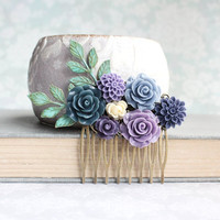Bridal Hair Comb Shades of Blue Wedding Lavender Purple Rose Hair Comb Bridesmaid Gift Wedding Hairpiece Dahlia Verdigris Branch Comb