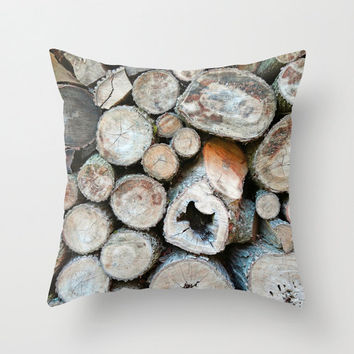 Rustic Brown and Beige Logs on Woodpile - Throw Pillow Cover