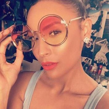 Vintage Round Sunglasses Clear transparent glass shades metal gold frame Large Oversized Mirror Sun Glasses woman tops Eyewear