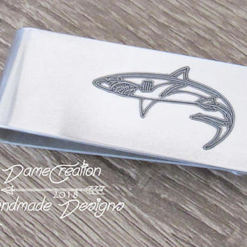 Wallet Clip for Men, Shark Gifts for Men, Money Clip Wallet Personalized Gifts, Fishing Gifts for Boyfriend, Engraved Mens Gifts