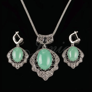 Jenia Retro Thai Silver Color Cyan/Green Opal Jewelry Sets Vintage Marcasite Drop Earrings and Pendant Set for Women XS186