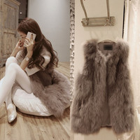 Winter Plus Size Faux Fur Jacket Women Natural Faux Fur Vest Gilet Sleeveless Lapel Outerwear Jacket Coat Hair V-neck Waistcoa