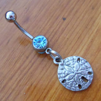 Belly Button Ring - Pretty Sand dollar and Light Blue gem Belly Button Ring