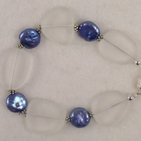 SEABR01 Sea Glass Bracelet with Fresh Water Coin Pearls