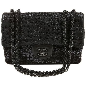 Chanel Black Sequin Single Flap Medium Bag