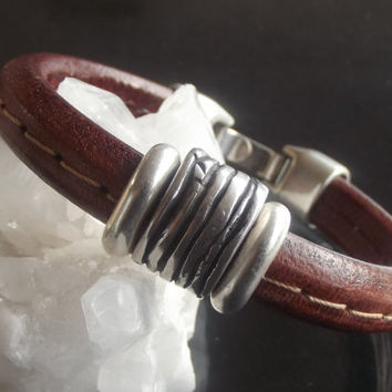 Bracelet handmade brown color leather and silver plated findings