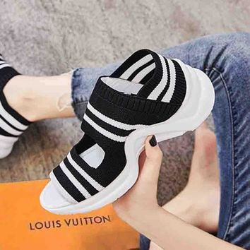 LV Slippers Louis Vuitton Sandals  Breathable platform shoes leisure sports shoes B-ALS-XZ Black