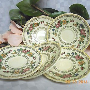 "Royal Doulton Cavendish Green & Yellow Bands, Floral set 5 Saucer 5.3/4"" D"