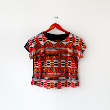 Vintage 1960's Hippie Red Orange Aztec Crop TOP Blouse (M) Hipster - Native Chic - Boho