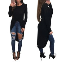 Long Sleeve Irregular Shirt Casual Loose Tees Sexy Ladies Round T-Shirt