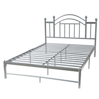 Queen size Metal Platform Bed Frame with Headboard in Silver Finish