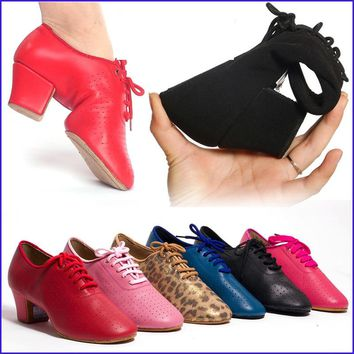 Sneakers Ballroom Dance Shoes Woman Latin Shoes Women Jazz Lace-up Sports Teacher Shoe Tango Heel 4.5cm Male Female BDDANCE T1-B