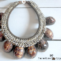 Speckled Brown Shell Tribal Necklace