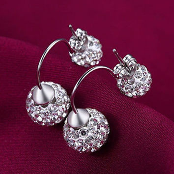 Screw Back Double-Side Full Siny Crystal Stud Earrings Women Silver Crystal Earrings Women Ear Jewelry SM6
