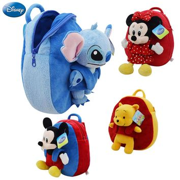 27cm Disney Backpack Mickey Mouse Minnie Winnie The Pooh Lilo and Stitch Piglet Cute Girl Children Schoolbag Animal Plush Toy