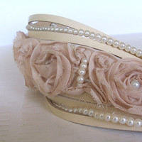 Sliced Cream Leather With Fabric Flowers Cuff Bracelet