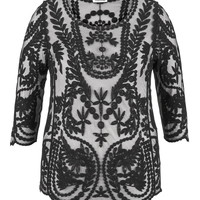 Plus Size - Mesh With Lace Embroidery Top - Black