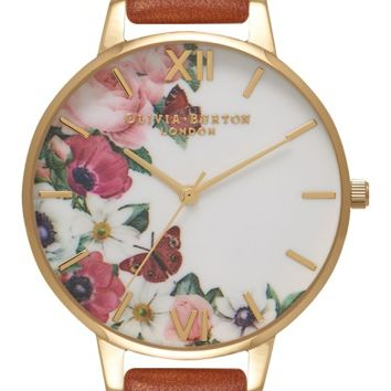 Olivia Burton English Garden Leather Strap Watch, 38mm | Nordstrom