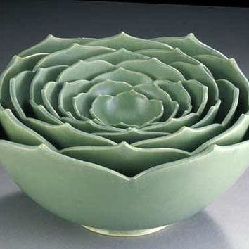 Eight Nesting Lotus Bowls by Whitney Smith (Ceramic Sculptural Bowls) | Artful Home