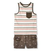 Toddler Boys' Tank Top and Short Set - Brown & Shell - Genuine Kids™ from OshKosh® : Target