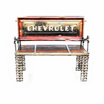 Chevy Tailgate Bench Made with Chain Custom Welded Metal Garden Outdoor, Upcycled Recycled Repurposed by Recycled Salvage