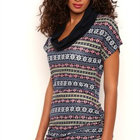 Short Sleeve Cowl Neck Knit Tunic Top with Fair Isle Print