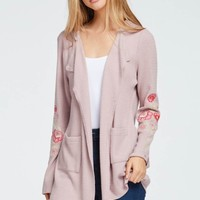 Hoodie Open Cardigan with Embroidery