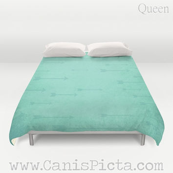 Duvet Cover Modern Arrows Flying QUEEN or KING size Bedroom Room Decor Decorative Teal Archery Bow Quiver Marksman Distressed Unique Bright