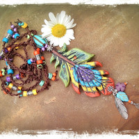 Bohemian PEACOCK FEATHER NECKLACE Crochet Necklace long necklace Turquoise hippie jewelry Clay Feather pendant Colorful
