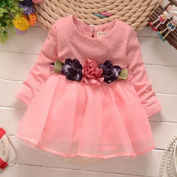 2016 winter newborn fancy infant baby dresses girl frocks designs party wedding with long sleeves jacadi 1 year birthday dresses