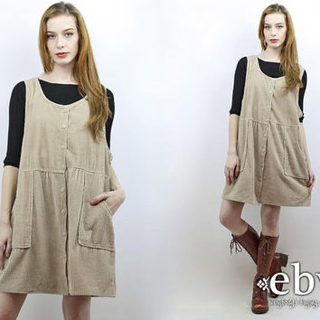 01399376052 Vintage 90s Khaki Cord Mini Dress XL 1X Cord Dress Babydoll Dres. plussize  ...