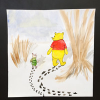 WINNIE the POOH and PIGLET in the snow - original Disney winnie the pooh and piglet hundred acre wood watercolor painting snow winter