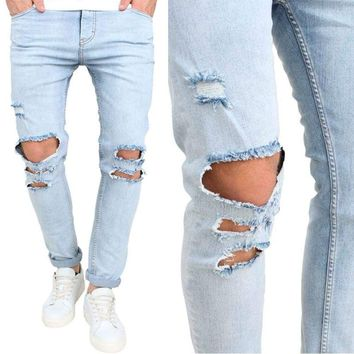 Men's Slim Skinny Runway Straight Elastic Denim Pants Destroyed Ripped Jeans USA