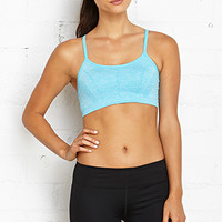 FOREVER 21 Low Impact- Heathered Sports Bra Blue Jewel Large