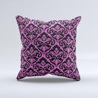 Pink & Black Delicate Pattern Ink-Fuzed Decorative Throw Pillow