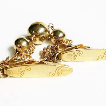 Vintage Sweater Guard, Sweater Clip, Gold Chains, Gold Ball Beads, Collar Clip, Vintage Dress Accessories, Collectible Jewelry, Monogrammed