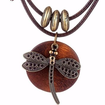 Dragonfly Wood necklace for women