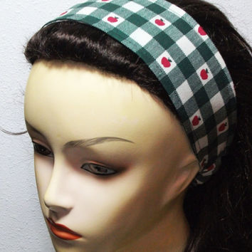 Apples on Green and White Checkers Headband Reversible Wide Wrap Around Fabric Headband
