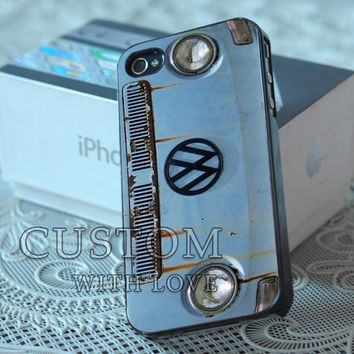 VW Minibus Blue Color - Rubber or Plastic Print Custom - iPhone 4/4s, 5 - Samsung S3 i9300, S4 i9500 - iPod 4, 5
