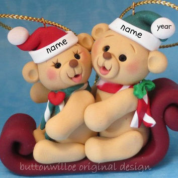 Personalized Ornament Twins, Best Friends, First Christmas Married,  Brother and Sister,  Mom and Dad, Grandma and Grandpa