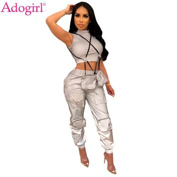 Adogirl Fashion Reflective Cargo Pants Women Multi Pockets Ankle Banded Trousers Night Version Casual Sweat Pants Female Slacks