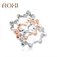 ROXI 3Pcs Austrian Crystal Stackable Rings Fashion Beauty Wave Band Ring Bride Wedding Engagement Love Ring Jewelry for Women