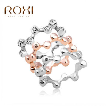ROXI 3Pcs Austrian Crystal Stackable Rings Beauty Wave Band Ring Bride Wedding Engagement Love Ring Jewelry  SM6
