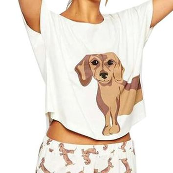 Dog Puppy Print White Women T Shirt Tee Fashion Casual Cotton 2016 Cute Women Clothing Womens Tops Fashion 2016 New Arrival