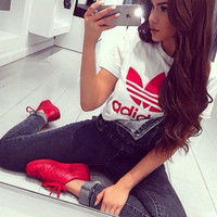 Red Ad White T Shirt