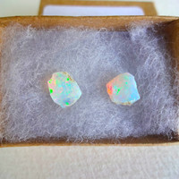 Large Rough Opal and Sterling Silver Post Earrings